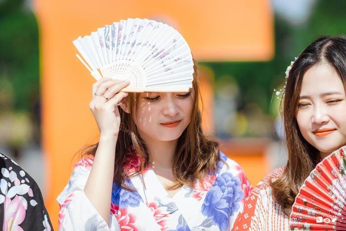 Quạt giấy truyền thống Nhật Bản là một trong những phụ kiện không thể thiếu.