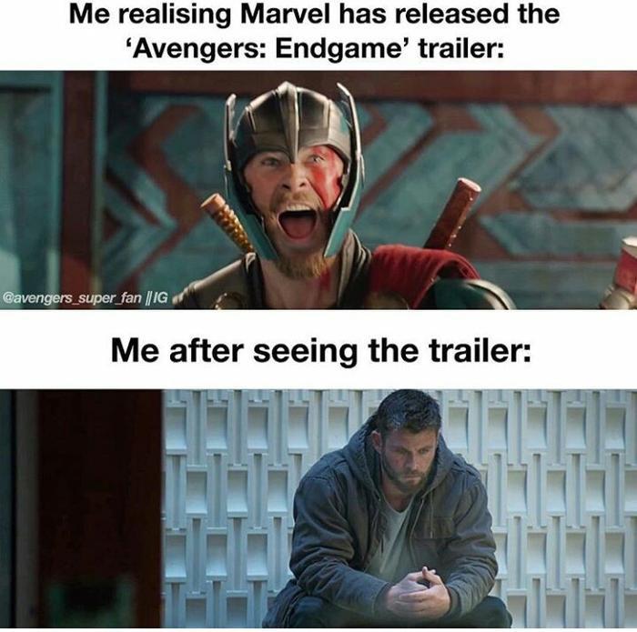 Tôi khi thấy trailer Endgame ra lò vs. Tôi khi xem xong trailer.