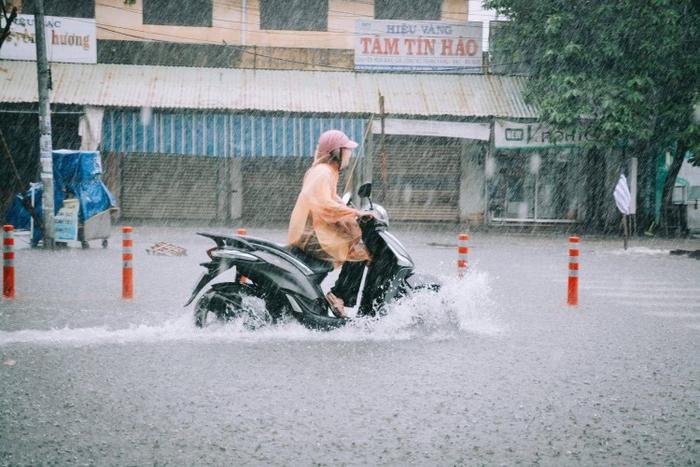 Người dân Đà Nẵng vất vả di chuyển ngày mưa lớn.