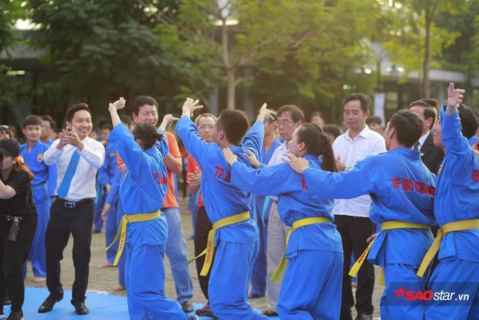 Các học viên trong 1 cuộc thi giao lưu các môn võ cổ truyền.