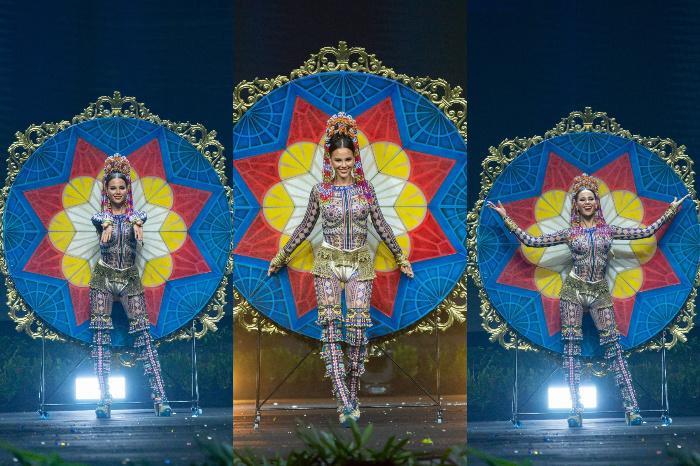 Cô nàng càng được lòng fan Philippines hơn bao giờ hết khi nỗ lực thể hiện bộ trang phục dân tộc khổng lồ này.