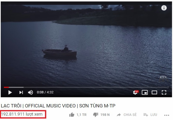Sau 2 năm phát hành, Lạc trôi hiện đang nắm giữ hơn 192 triệu view trên Youtube.