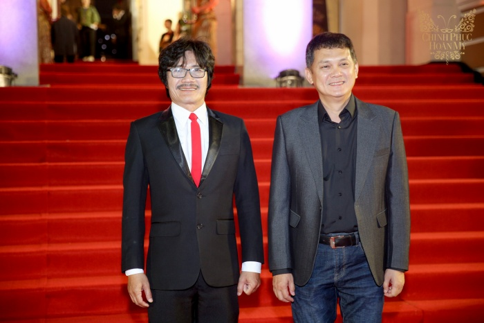 Hai nghệ sĩ gạo cội Công Ninh và Hữu Châu trên thảm đỏ sự kiện.
