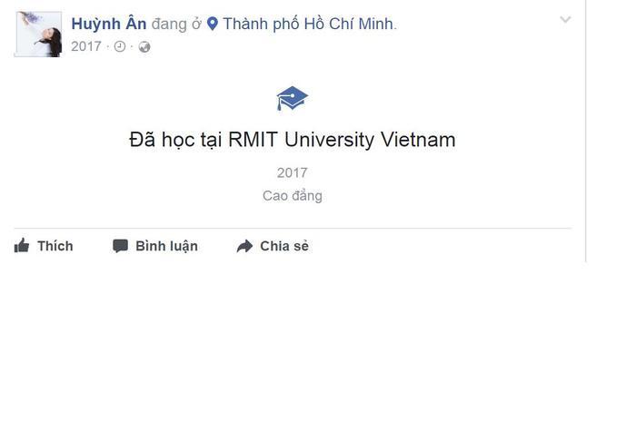 Huỳnh Ân check-in tại trường ĐH RMIT. Ảnh: kenhsao.net