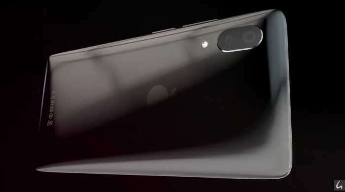Ở mặt lưng, iPhone XSlide có thiết kế khá giống với chiếc Xperia XZ2 với mặt lưng bo cong khá mạnh về 4 cạnh.