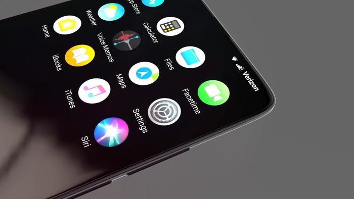 """Với thiết kế này mà màn hình iPhone XSlide gần như chiếm trọn mặt trước khi phần khuyết """"tai thỏ"""" ở cạnh trên đã bị loại bỏ, loa thoại cũng được đẩy sát mép khung kim loại."""