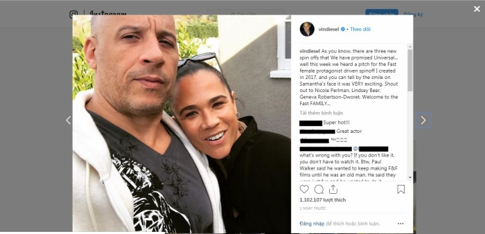 Bài đăng trên Instagram của Vin Diesel kèm bức ảnh chụp cùng Samantha Vincent.