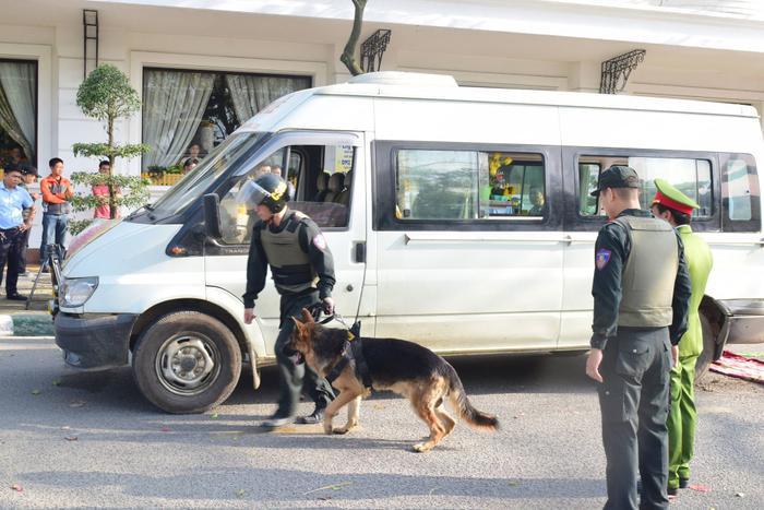 Lực lượng chức năng sử dụng chó nghiệp vụ để phát hiện ma túy.