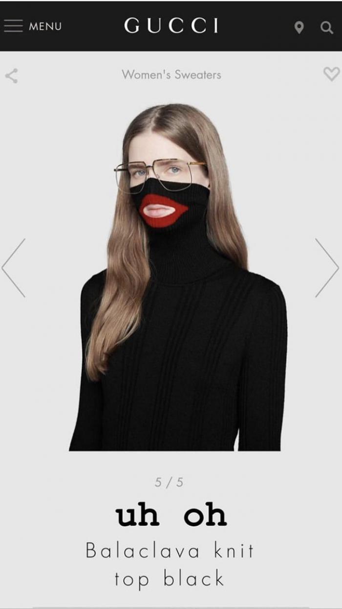 Hình ảnh chiếc áo có thiết kế mang tính phân biệt chủng tộc trên website Gucci trước đó.