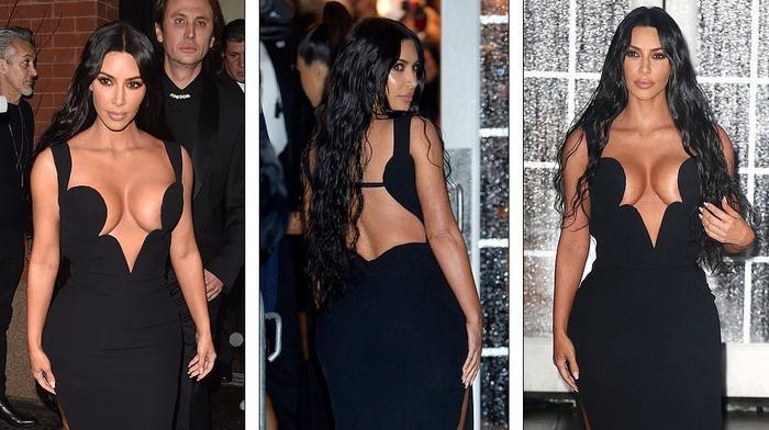 Chiếc váy đen làm nổi bật đường cong cơ thể của Kim
