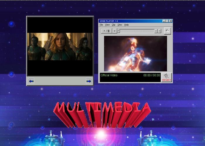 Mục đa phương tiện cho phép người dùng xem trailer phim trong một giao diện Windows Media Player cổ điển.