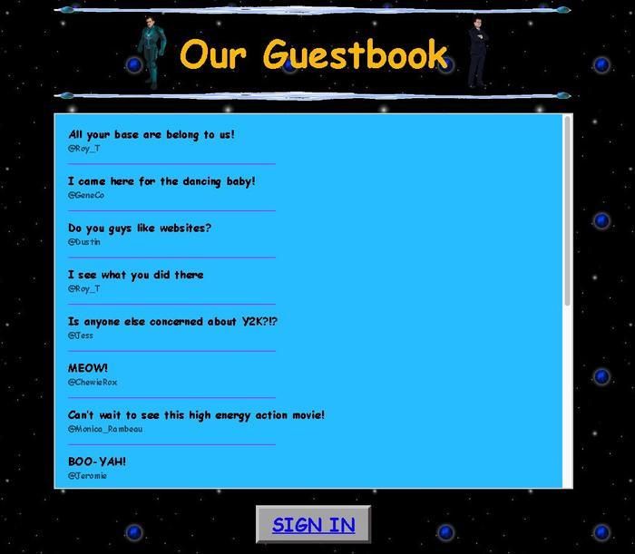 Khách tới thăm có thể để lại lời nhắn trong phần Guestbook.