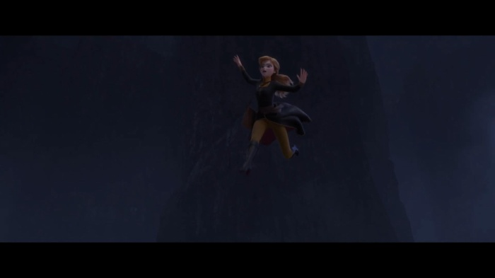 Anna dũng cảm nhảy qua những cột đá cheo leo.