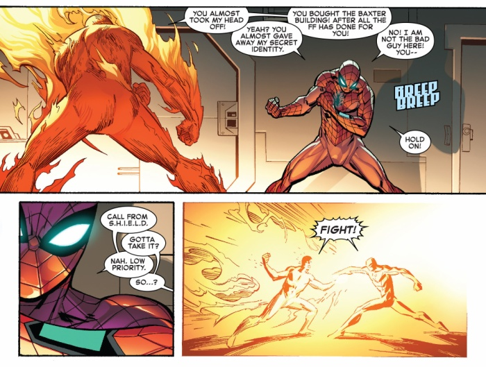 "Spider Man vs. Human Torch, trong ""The Amazing Spider Man (2015) #3"""