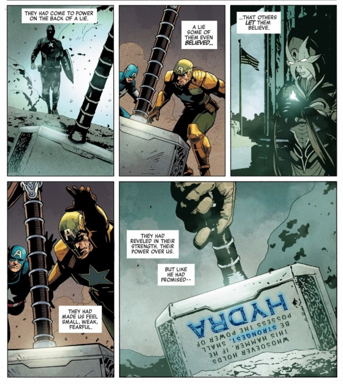 """Nội dung bùa chú viết trên búa thay đổi trong """"Secret Empire #10"""""""