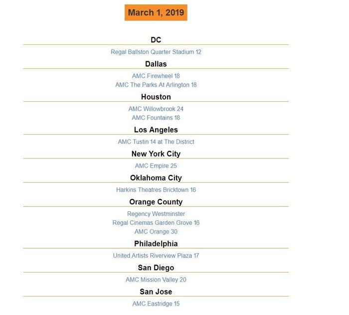 Danh sách rạp chiếu phim Hai Phượng tại Mỹ.