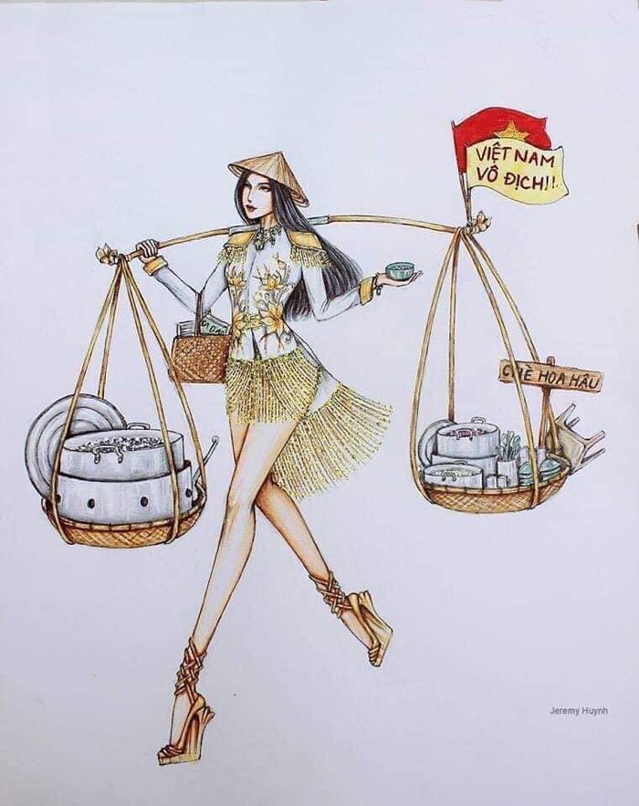 Hình ảnh mô phỏng Hoàng Thùy gánh nồi chè đậu đen khiến nhiều người thích thú.
