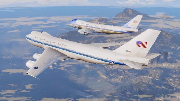 Trong các chuyến công du nước ngoài của tổng thống Mỹ thường có sự hiện diện của một chiếc E-4B. (Ảnh: Gta5-mods).