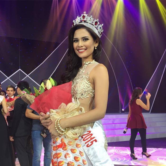 Nhan sắc Hillarie Parungao thời điểm đăng quang Hoa hậu Thế giới Philippines 2015.