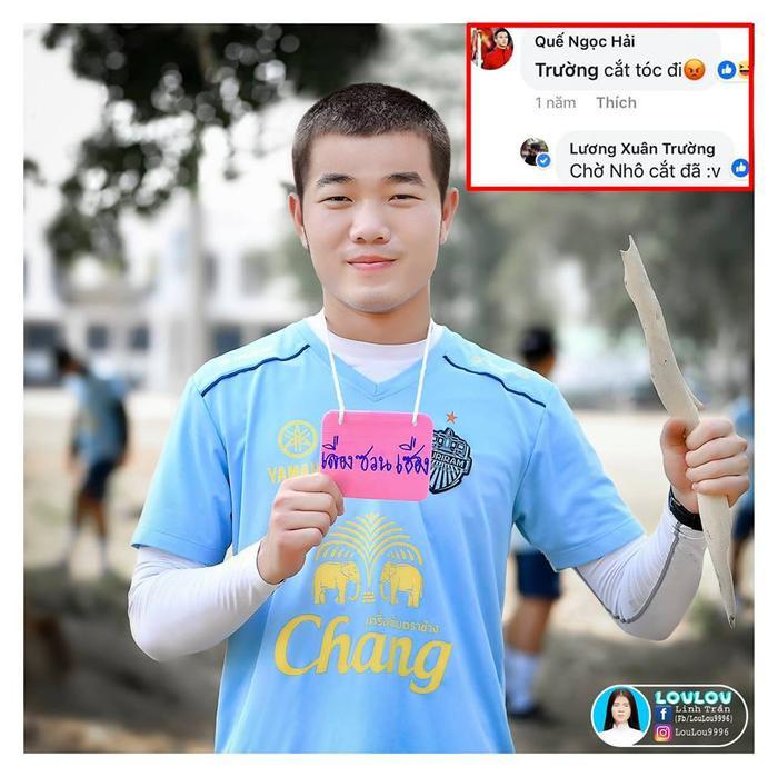 Fan chế ảnh Xuân Trường cạo đầu theo trend của Tuấn Anh (Ảnh của LouLou).