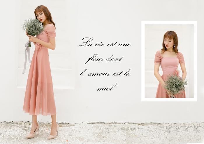 Tone màu misty rose trên nền chất liệu voan và Vitex cao cấp, nhẹ nhàng vẫn tôn lên vẻ đẹp duyên dáng cho nàng dâu.