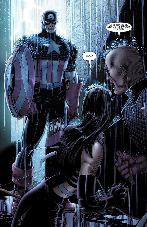 Clint mặc lên bộ quần áo của Cap và giáp mặt Hawkeye cùng với Patriot