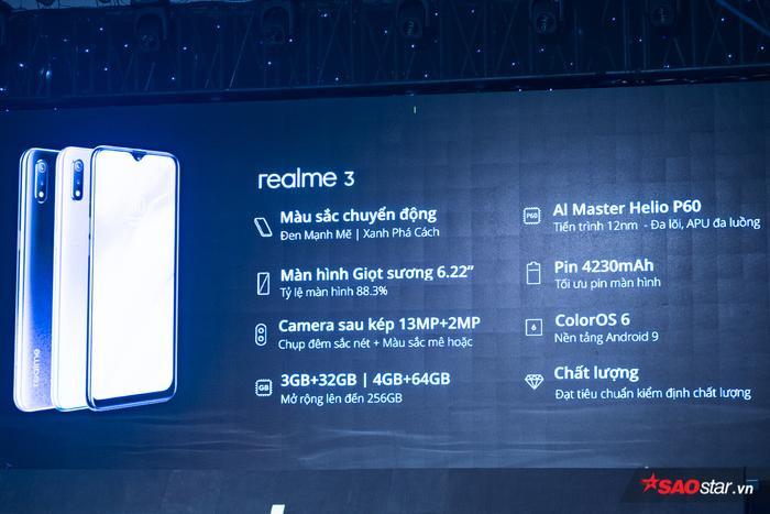 Tổng hợp những gì Realme 3 được trang bị trong buổi ra mắt thị trường Việt Nam.