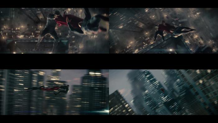 Zod túm lấy áo choàng rồi quăng chàng Superman ra xa tít tắp
