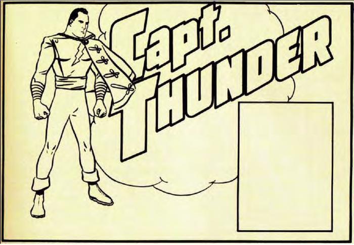 Thiết kế ban đầu của Captain Marvel, với cái tên Captain Thunder đầu tiên