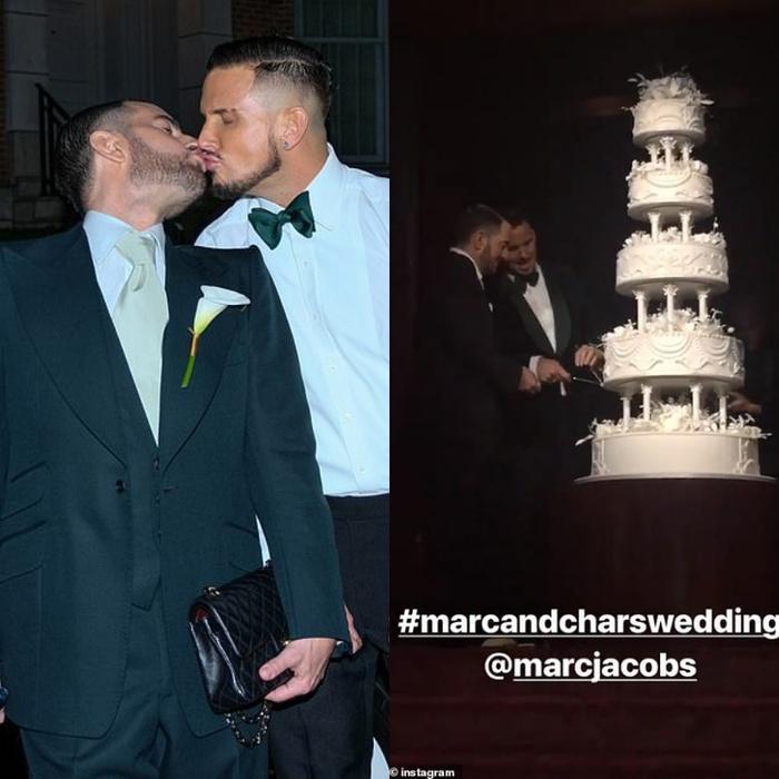 """Khoảnh khắc ngọt """"lịm tim"""" trong đám cưới của NTK Marc Jacobs và Char Defrancesco. Kể từ khi công khai hẹn hò vào cuối năm 2015, cả hai thường xuyên xuất hiện bên nhau trong các sự kiện."""
