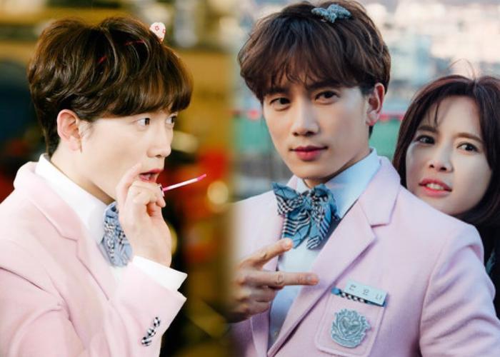 """Ji Sung (42) trong drama """"Kill Me Heal Me"""" năm 2015. Nữ sinh trung học Ahn Yo Na là một trong 7 nhân cách của anh ấy. Tại thời điểm này, ông xã Lee Bo Young 38 tuổi."""