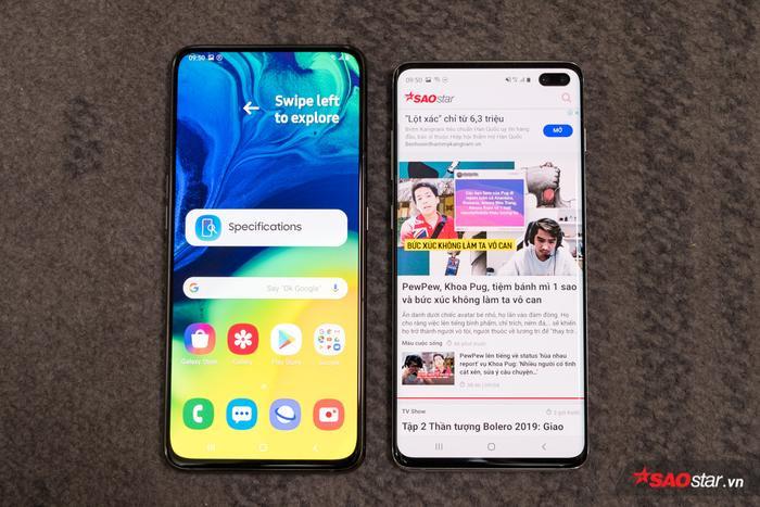 Khi so với Galaxy S10+, A80 có phần dài hơn và có màn hình tràn viền Full view thực sự nhờ trang bị cụm camera xoay độc đáo.