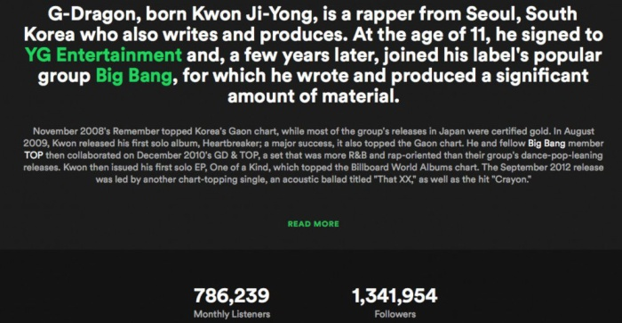 Trưởng nhóm BigBang - G-Dragon từng giữ vị trí số 1 với 1.341.954 người theo dõi.