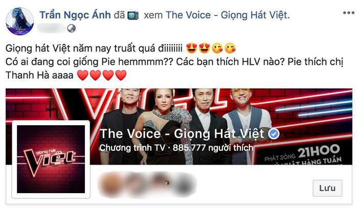 """Quán quân 2018 Trần Ngọc Ánh cũng không nằm ngoài """"cơn sốt""""."""
