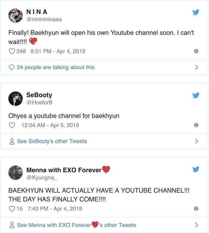 Cộng đồng EXO-L vui sướng khi Baekhyun quyết định mở kênh YouTube của riêng mình trong thời gian tới.