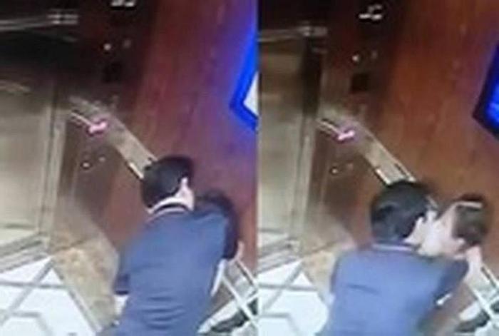 Hành vi cưỡng hôn của ông Linh được camera an ninh ghi lại.