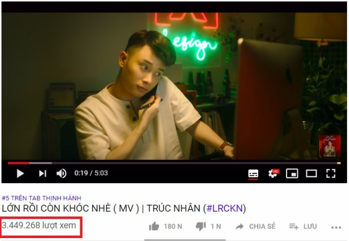 Hiện MV đã đạt hơn 3 triệu lượt xem sau ít ngày lên sóng.