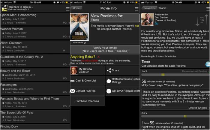 Nếu đang xem phim mà 'mắc tè', bạn có thể tra cứu ứng dụng RunPee, xem thời gian thích hợp để đi giải quyết, và ứng dụng sẽ tóm tắt lại nội dung bạn đã bỏ lỡ.