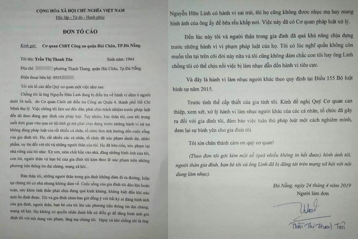 Đơn tố cáo của vợ ông Nguyễn Hữu Linh.