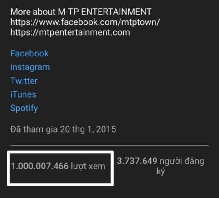 Tin vui dành cho cộng đồng Sky: Kênh youtube chính thức Sơn Tùng M-TP chào đón… lượt xem thứ 1 tỷ