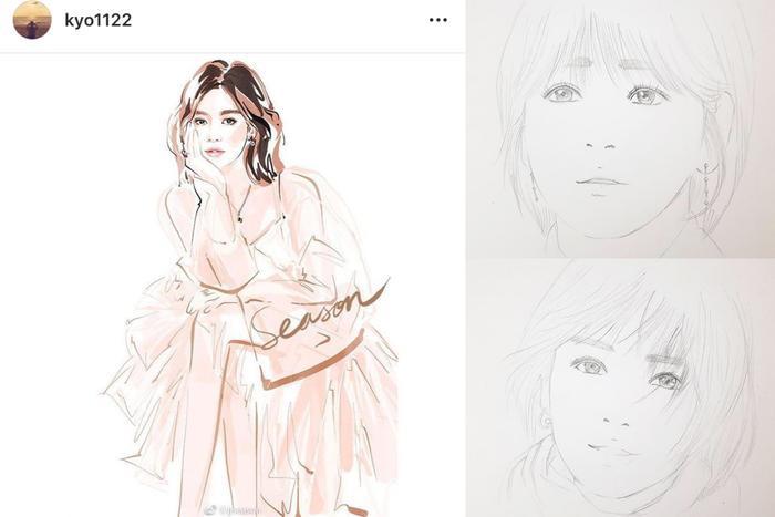 """Song Hye Kyo khoe những tranh vẽ về mình, cùng với trạng thái: """"Cảm ơn nha""""."""