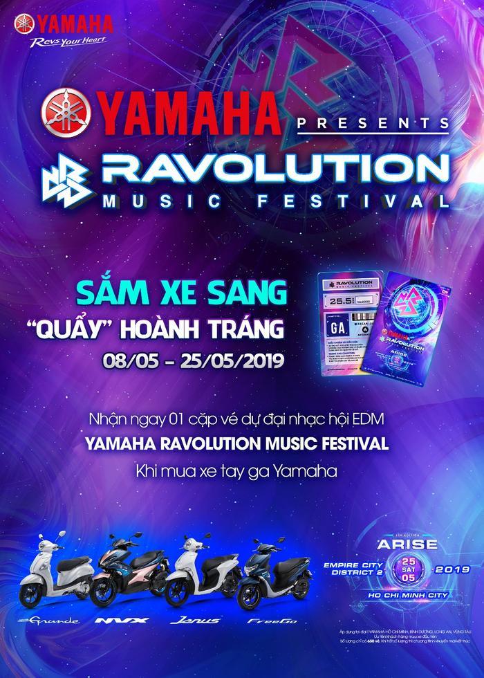 Yamaha đặc biệt dành tặng tới 650 vé tham dự chương trình cho những khách hàng may mắn mua xe tay ga Yamaha từ 08/05 - 25/05/2019.