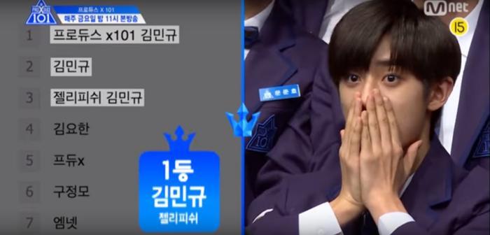 Hạng 1 đầu tiên của PRODUCE X 101 - Kim Mingyu không thể thốt nên lời trước kết quả này.