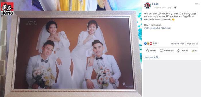 Hình ảnh 2 anh em sinh đôi cùng tổ chức đám cưới 1 ngày gây chú ý trên mạng xã hội.