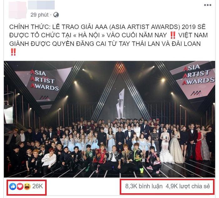 Một bài đăng về thông tin xác nhận sự kiện đạt 26 nghìn like, 8,3 nghìn lượt bình luận và 4,9 nghìn lượt chia sẻ cho thấy sức hút của sự kiện.