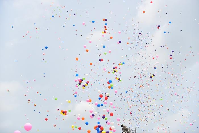 HÌnh ảnh bóng bay rợp cả bầu trời trong ngày đại lễ.