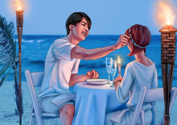 Sau khi nấu ăn, Jin đưa bạn gái của mình vào một buổi hẹn hò lãng mạn bên bờ biển.