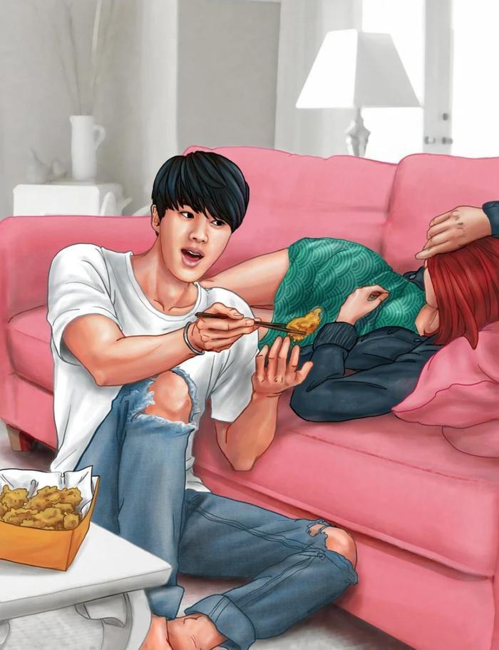 Trong bức vẽ, Jin còn cho bạn gái mình ăn vụng trong khi cô đang nằm thư giãn trên chiếc ghế dài.