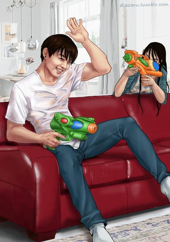 """Khép lại bộ ảnh """"viễn tưởng"""" này là màn chơi đùa với súng nước của Jungkook và bạn gái."""