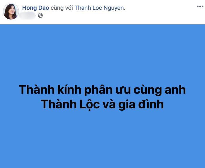 Danh hài Hồng Đào gửi lời chia buồn đến NSƯT Thành Lộc.